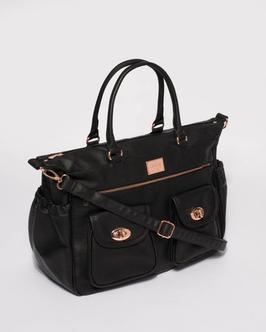 Black and Rose Gold Hardware Baby Travel Bag