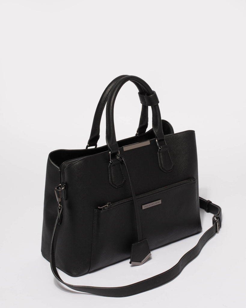 Black Saffiano Spencer Tech Tote Bag With Gunmetal Hardware