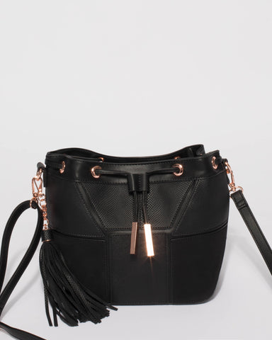 Black Luxy Bucket Bag With Rose Gold Hardware