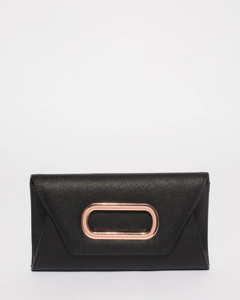 Black Gilly Clutch Bag With Rose Gold Hardware