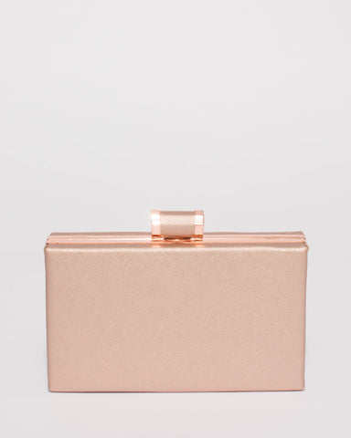 Sally Rose Gold Hardcase Clutch