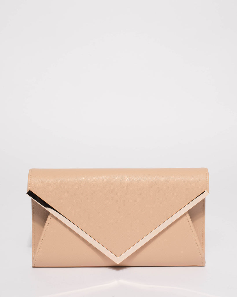 Beige Lily Long Bar Eve Clutch Bag