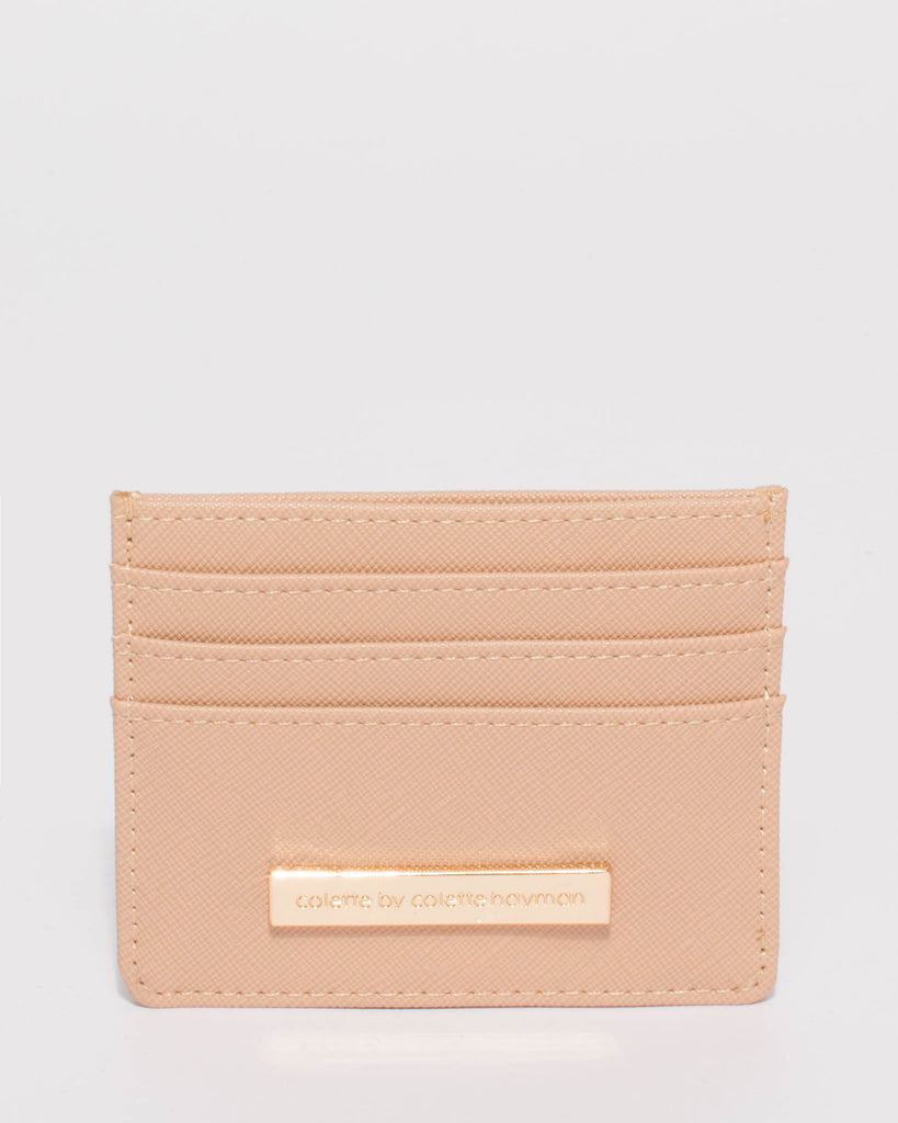 Mila Beige Saffiano Card Purse