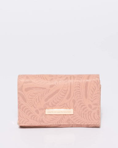 Pink Embroidery Dana Multi Pocket Wallet