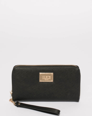 Black Saffiano Zoe Wristlet Wallet With Gold Hardware