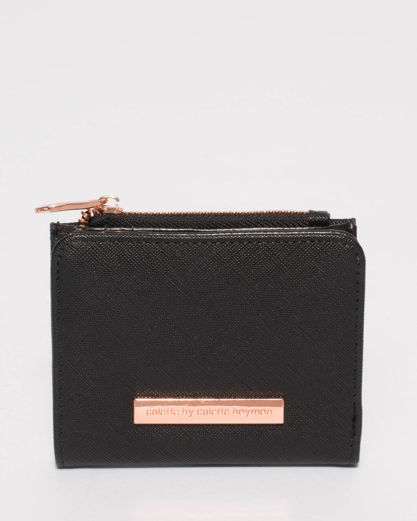 Black Saffiano Han Mini Wallet With Rose Gold Hardware
