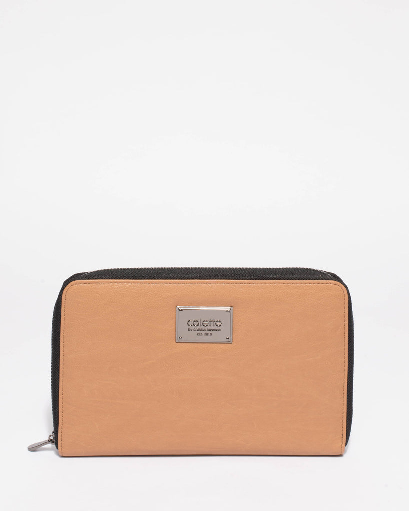 Caramel Talissa Plain Travel Wallet