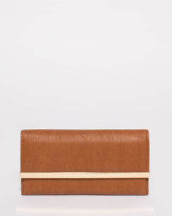 Tan Maisy Wallet With Gold Hardware