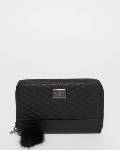 Black Nina Travel Wallet With Gunmetal Hardware