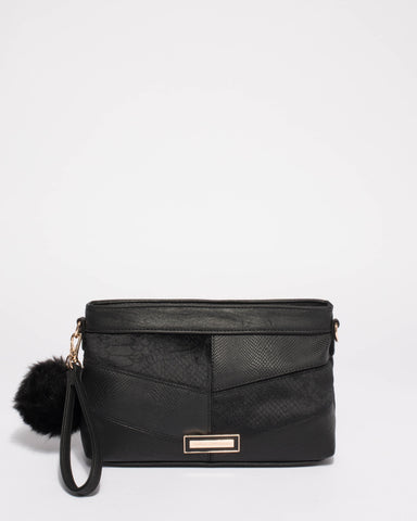 Black Erin Panel Crossbody Bag