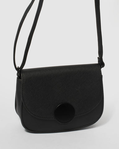 Black Avery Saddle Crossbody Bag