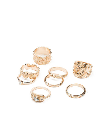 Hammered Coin 8 Pack Ring - Large