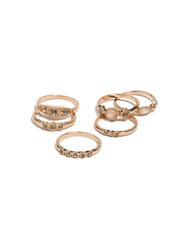 Pink Rose Gold Tone Mixed Stone Fine Band Ring - Medium