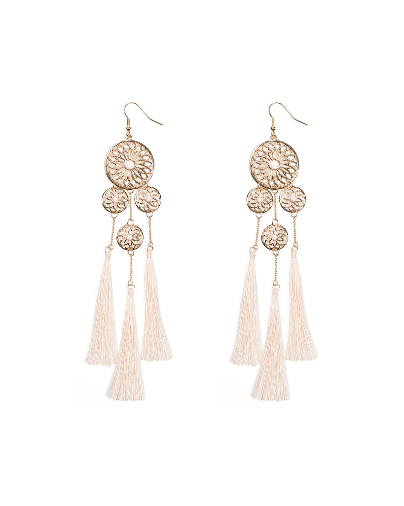 Filigree Circle Tassel Statement Earrings