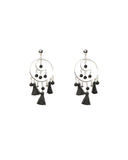 Circle Beaded Tassel Drop Earrings