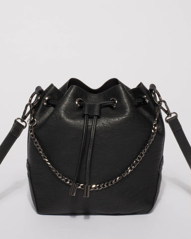 Black Jess Chain Bucket Bag With Gunmetal Hardware