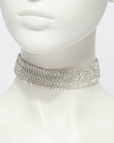 Wide Diamante Chain Choker Necklace