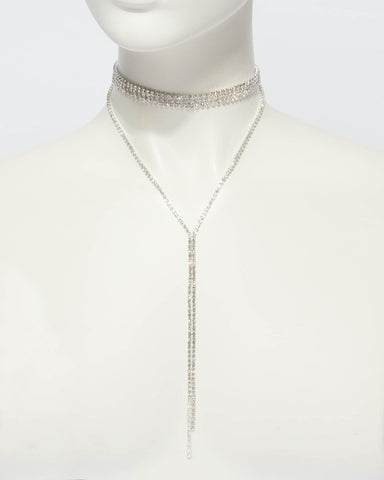 Diamante Chain Choker Lariat Necklace