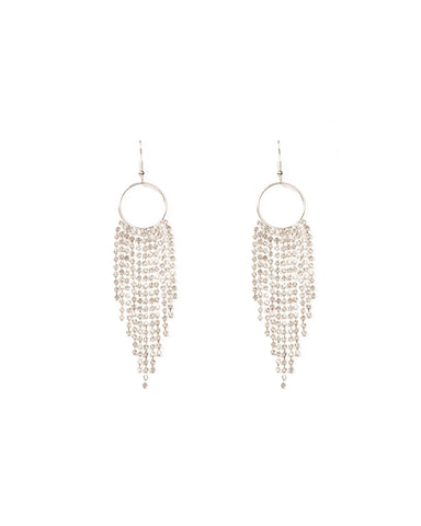Crystal Silver Tone Diamante Chain Tassel Earrings