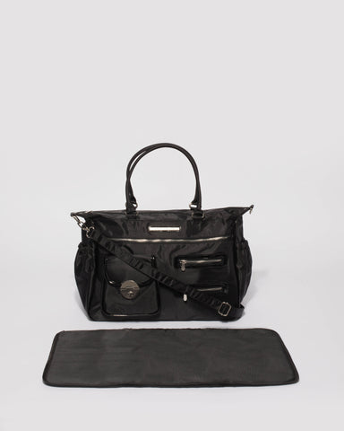 Pocket and Zip Black Nylon Baby Bag