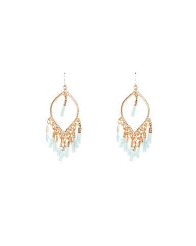 Oval Mini Blue Tassel Earrings