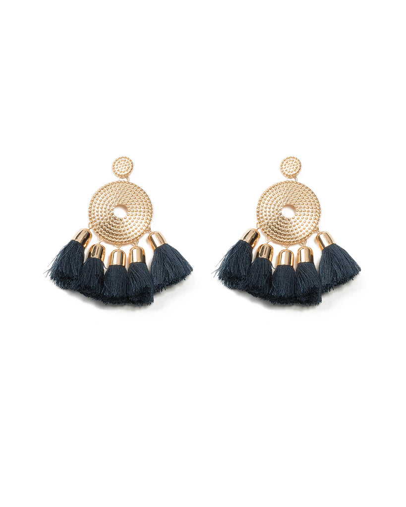 Double Disk Tassel Stone Earrings