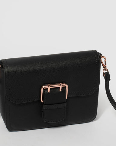 Black Avery Buckle Crossbody Bag