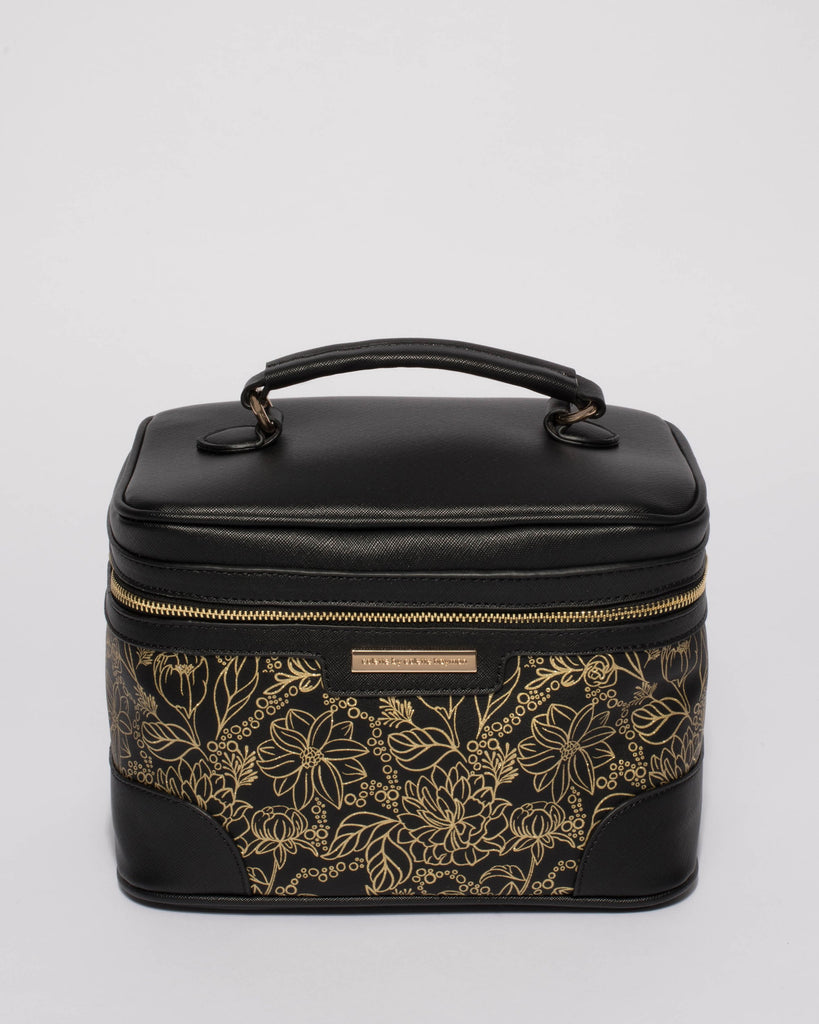 Gold Printed Black Cosmetic Case Pack