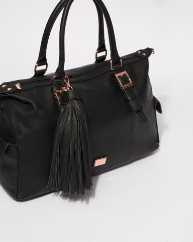Black Smooth Jojo Tassel Weekender Bag With Rose Gold Hardware