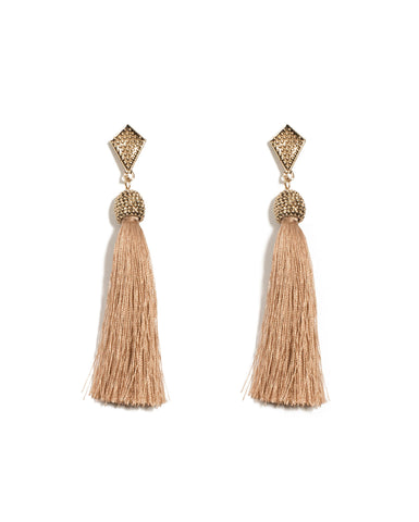 Textured Metal Tassel Earrings