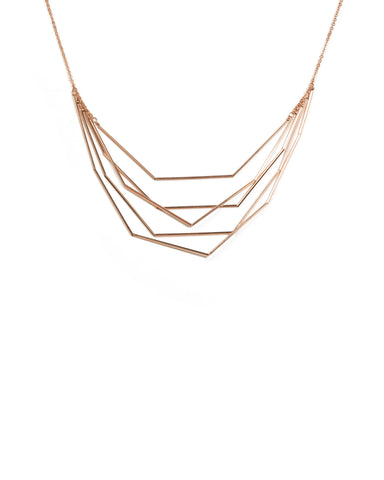 Rose Gold Thin Metal Geometric Necklace