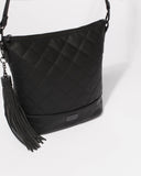 Black Monique Quilted Slouch Bag