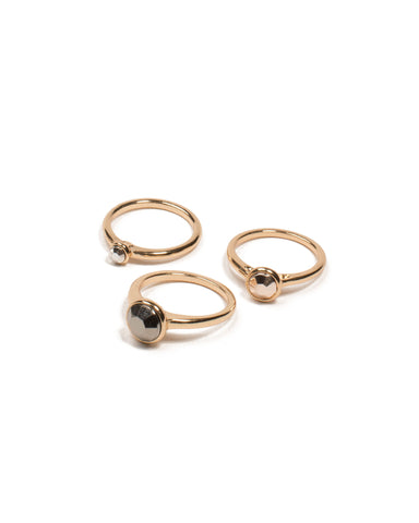 Gunmetal Gold Tone Center Stone Ring Pack - Medium