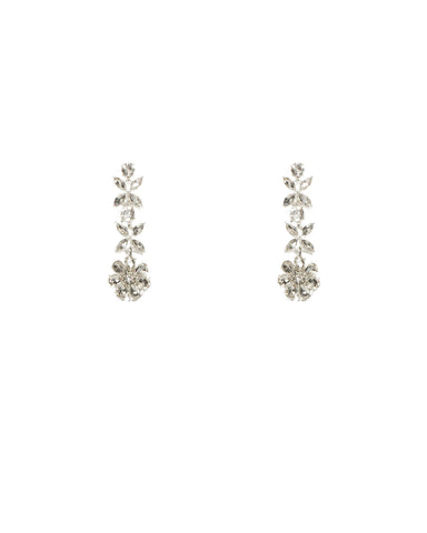 Diamante Silver Flower Drop Earrings