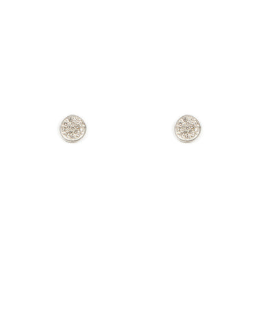 Diamante Pave Disc Stud Earrings