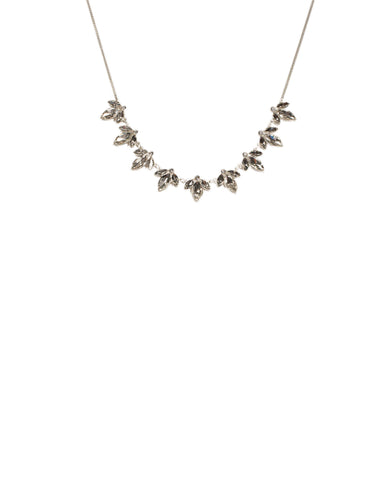 Crystal Silver Tone Navette Stone Short Necklace