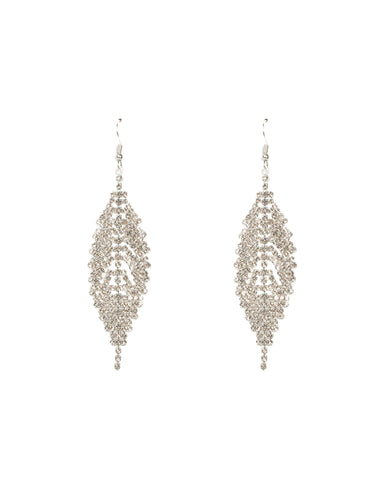 Diamante Chain Leaf Drop Earrings