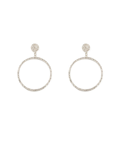 Diamante Pave Circle Drop Earrings