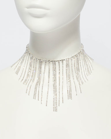 Diamante Tassel Chain Statement Necklace
