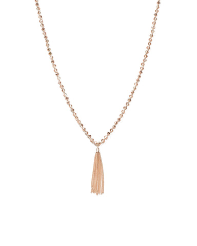 Beaded Chain Tassel Necklace