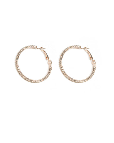 Rose Gold Tone Diamante Chain Hoop Earrings