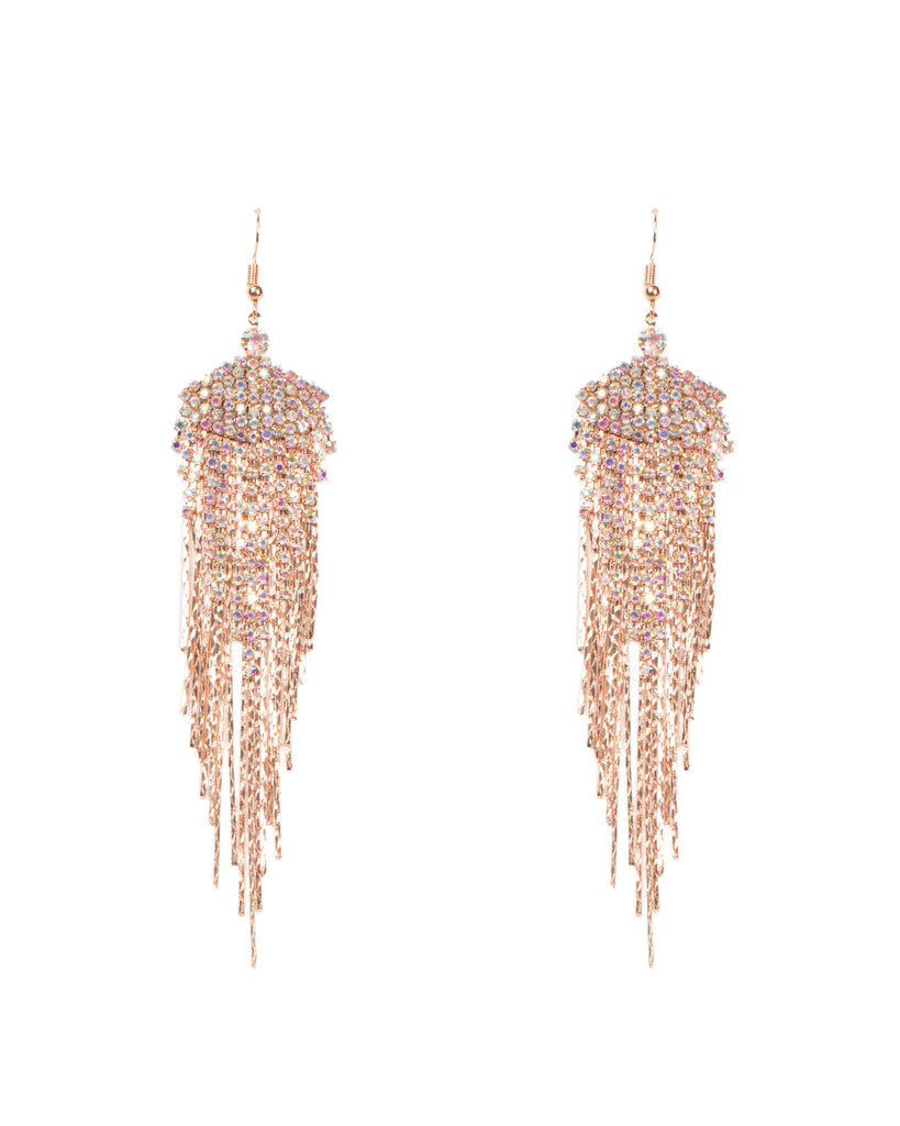 Rose Gold Cup Chain Statement Earrings