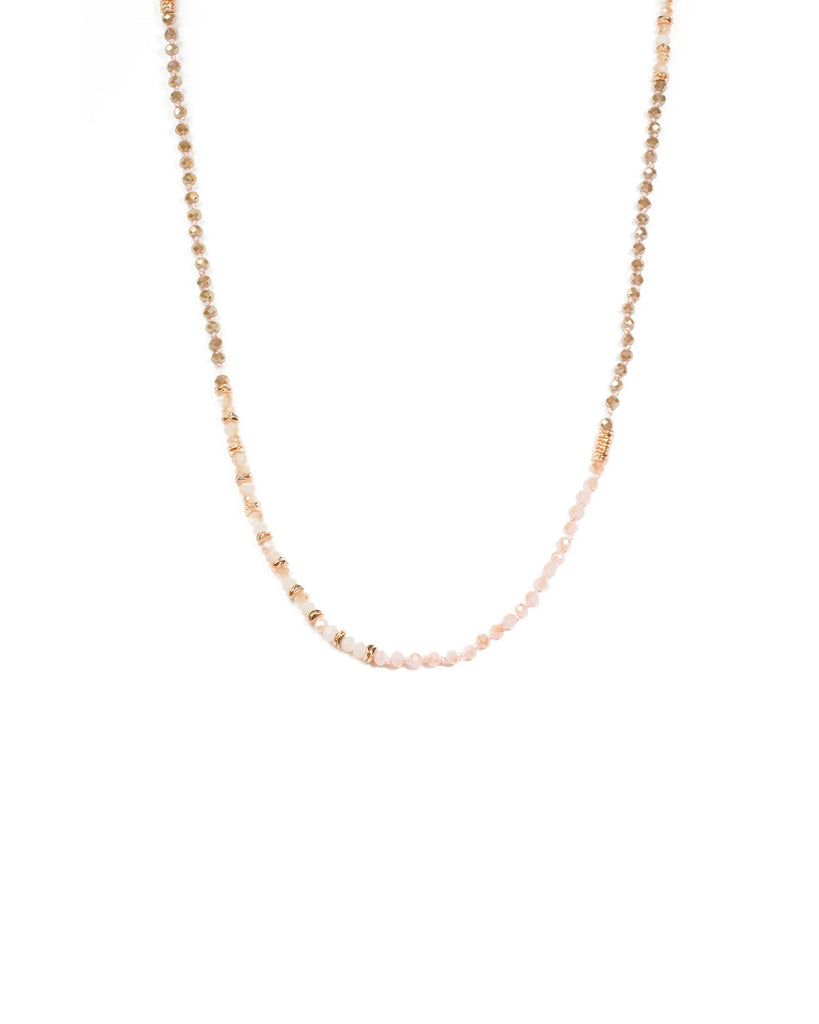 Pink Rose Gold Tone Beaded Long Rope Necklace