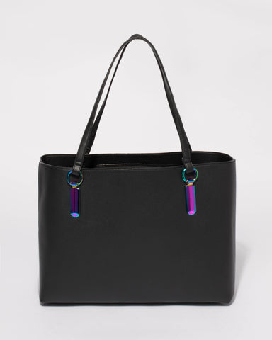 Black Angelina Tote Bag With Hologram Hardware