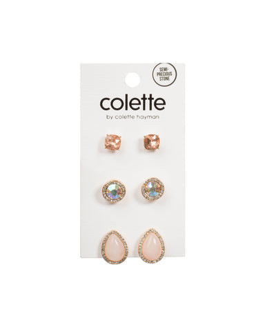 Rose Gold Tone Mixed Stone Teardrop Earring Pack
