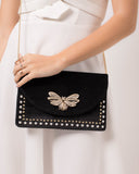 Black Velvet Bella Bug Clutch