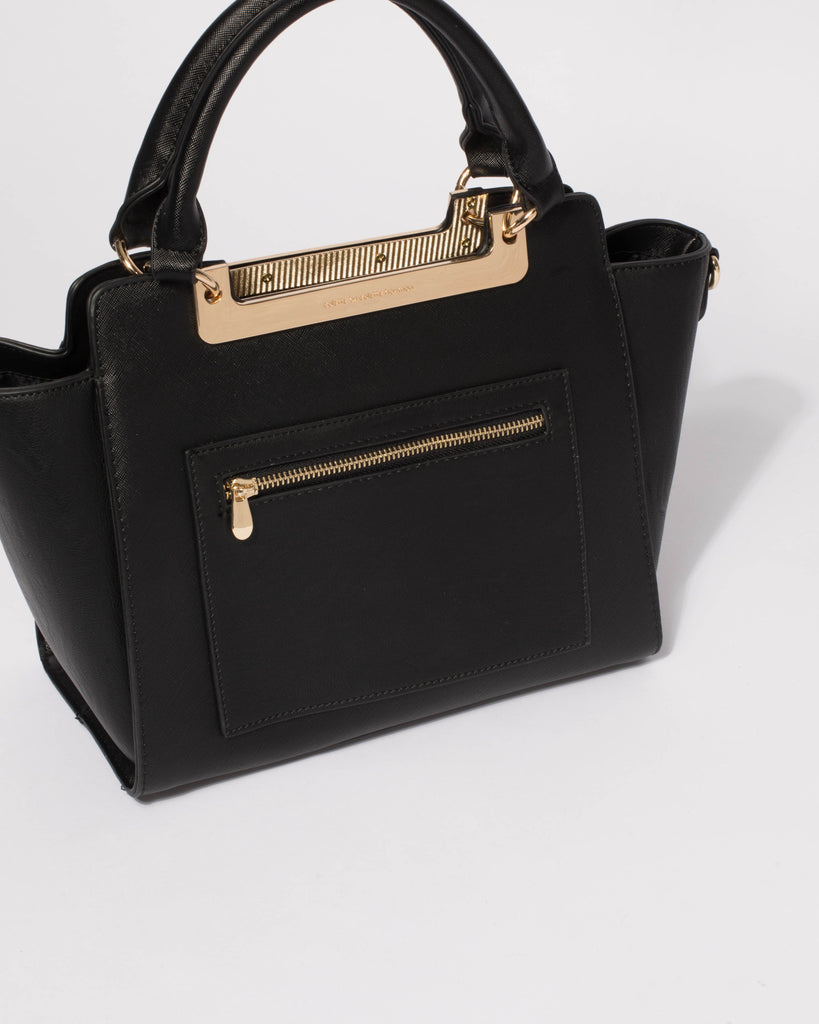 Black Saffiano April Pocket Tote