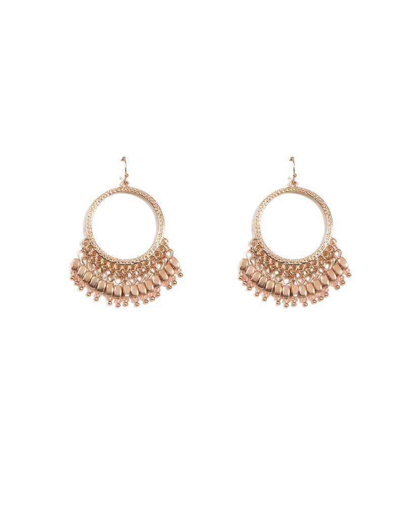 Rose Gold Tassel Circle Drop Earrings