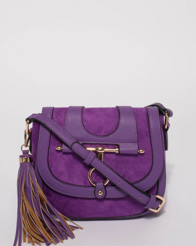 Leah Purple Suedette Saddle Bag