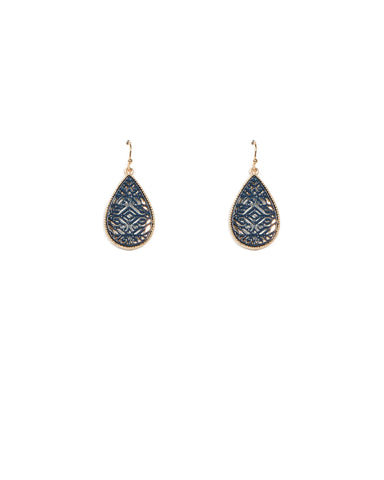 Blue Gold Tone Pattern Teardrop Earrings